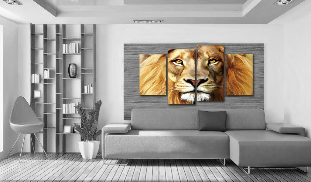 Nuolanart- 4 Panels Large Size Cool Lion Face Canvas Wall Art - Stretched Ready to Hang High Quality Oil Painting Print Modern Art for Decoration -P4S004 by Nuolan Art (Image #5)