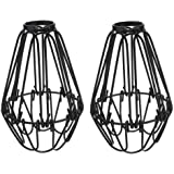 Mobestech Set of 2 Cage Ceiling Pendant Light Shade Iron Wire Industrial Vintage Basket Cage Pendant Light Shades