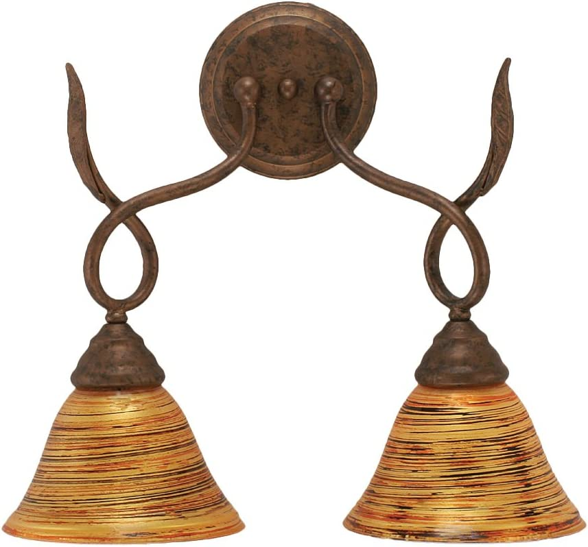 B008AU2P14 Toltec Lighting 110-BRZ-454 Leaf Two-Light Wall Sconce Bronze Finish with Firré Saturn Glass Shade, 7-Inch 61nR33EbEqL.SL1200_