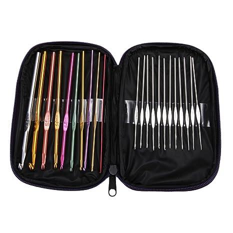 22PCS Suit Multi-colour Aluminum Crochet Hooks Needles Knit Weave Craft Yarn