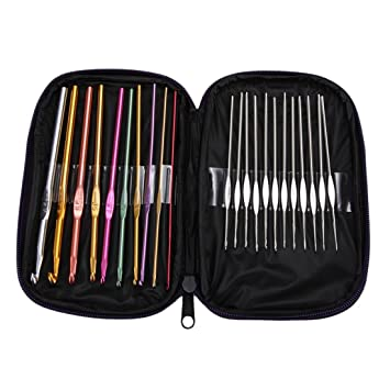 22pcs Mixed Aluminum Handle Crochet Hook Knitting Knit Needle Weave Yarn Set Kit