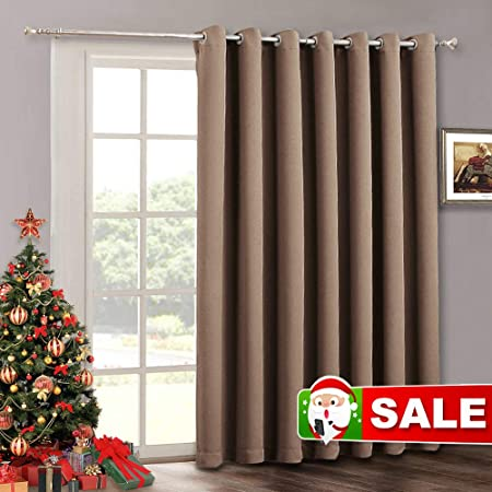 RYB HOME Patio Sliding Door Curtain Panel - Blackout Vertical Blinds Living  Room Window Curtains, Light Block Thermal Drape for Dining Farmhouse Cabin  ...
