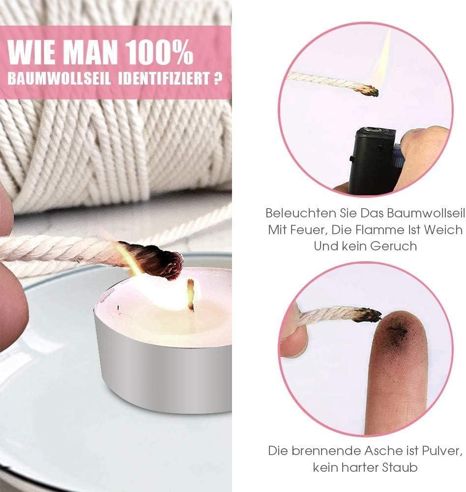 per piante da parete artigianato 100 m Filo di cotone macram/è Ahsado beige 3 mm per fai da te fai da te acchiappasogni