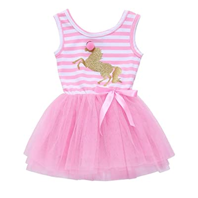 Goodtrade8 Toddler Baby Girl Short Sleeve Ruffle Lace Princess Tutu Dresses Outfit Clothes
