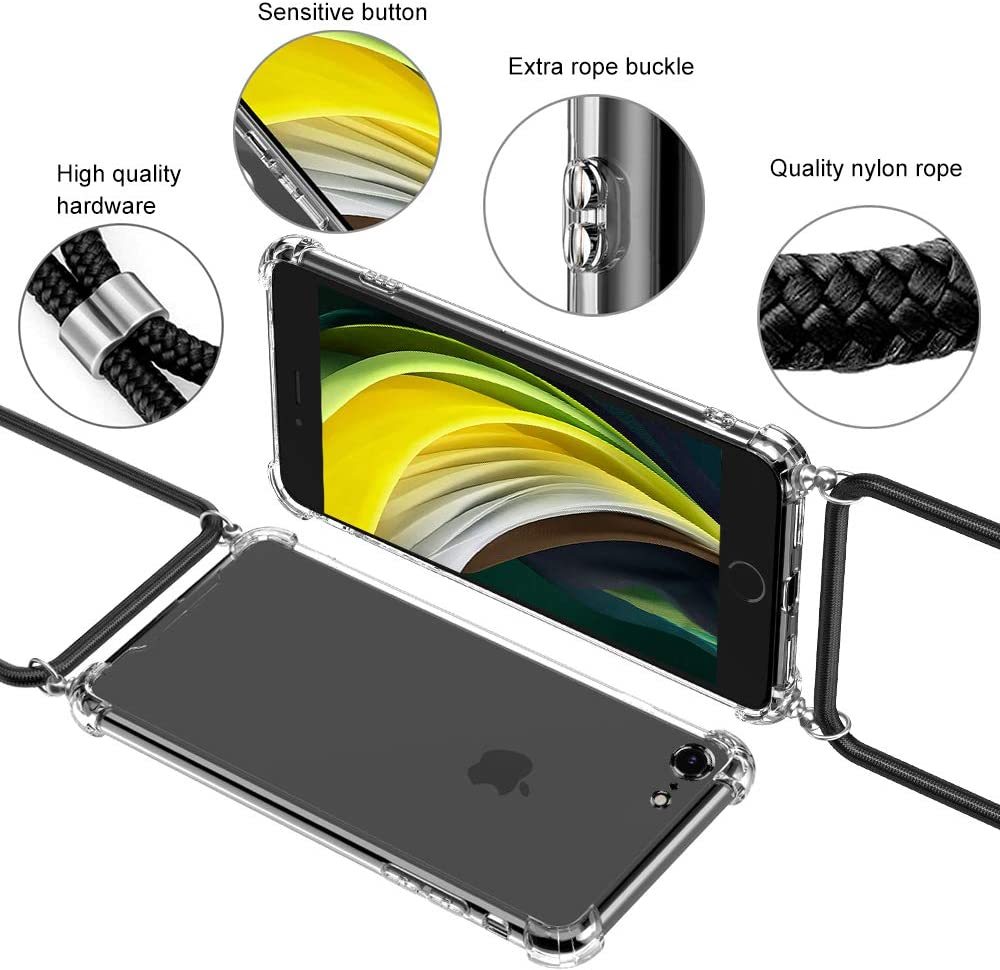 iPhone 8 //iPhone 7 Lanyard Case with Neck Cord Lanyard Strap Adjustable Shockproof laxikoo Crossbody Case for iPhone SE 2020 Transparent Soft TPU Silicone Mobile Phone Cover for iPhone SE//8//7