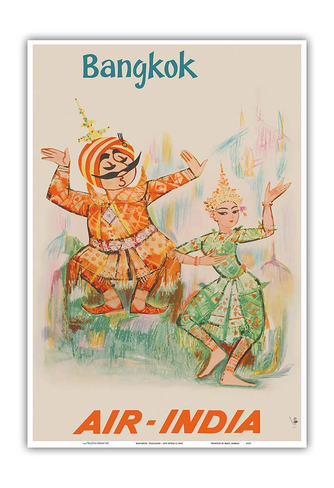 Pacifica Island Art Bangkok, Thailand - Air India - Maharaja with Thai Classical Khon Dancer - Vintage Airline Travel Poster c.1965 - Master Art Print - 13in x 19in