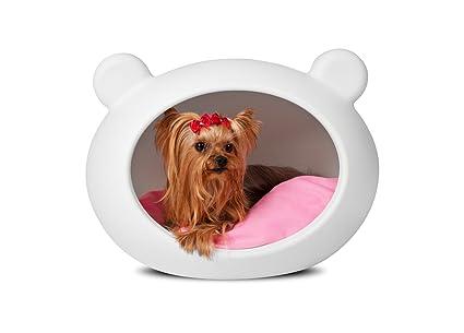 guisapet, Pet Cueva para perros y gatos – Cama para perro pequeño blanco con rosa