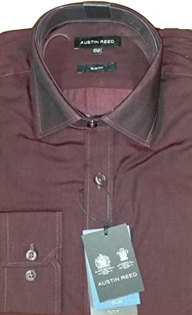 Mens Austin Reed Shirt Burgundy Long Sleeved Slim Fit 15 5 Amazon Co Uk Clothing