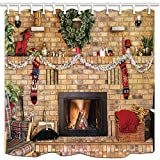 NYMB 3D Digital Printing Xmas Decor, Cozy Fire in Brick Fireplace and Mantle Decorated for Christmas Shower Curtains, Polyester Fabric Waterproof Bath Curtain, 69X75in, Shower Curtain Hooks Included