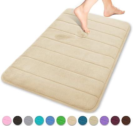 Non-Slip Memory Foam Bathmat 18/'/' X 28/'/' Beige