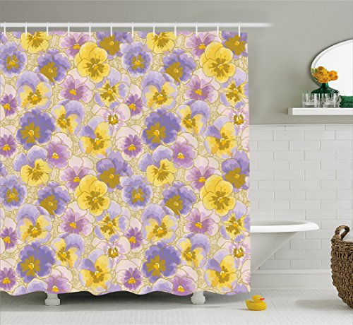 Ambesonne Floral Shower Curtain, Hand Drawn Pansy Flowers Garden Botanical Artistic Watercolor Pattern, Fabric Bathroom Decor Set with Hooks, 70 Inches, Lavander Lilac Yellow