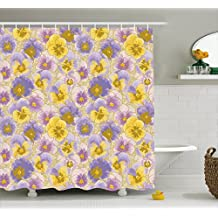 Floral Shower Curtain by Ambesonne, Hand Drawn Pansy Flowers Garden Botanical Artistic Watercolor Pattern, Fabric Bathroom Decor Set with Hooks, 75 Inches Long, Lavander Lilac Yellow