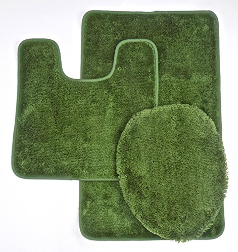 Royal Plush Collection 3-Piece Bathroom Rug Set, Bath Mat, Contour and Toilet Cover (Standard Round Size Toilet) - Sage (Toilet Seat Cover Green)