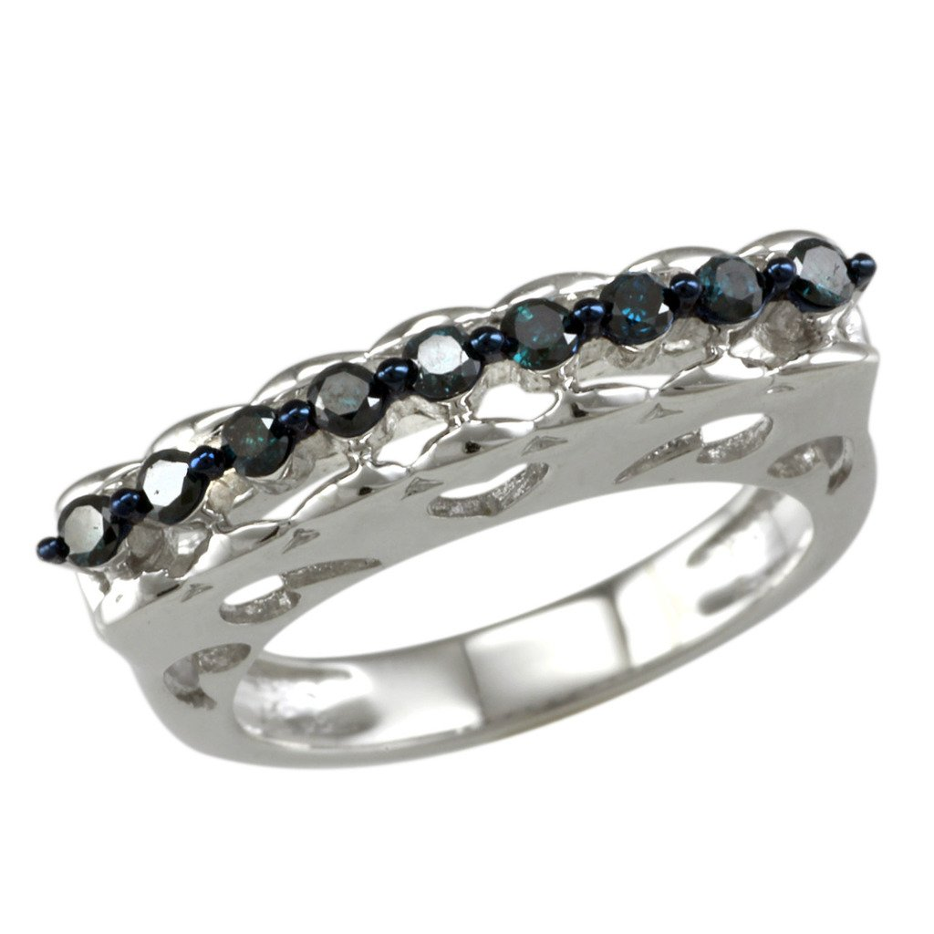 Sterling Silver 0.25ct TDW Blue Diamond Curve Top Band Ring by V3 Jewelry (Image #2)