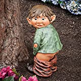 "Bits and Pieces - ""Caught with His Pants Down"" Garden Elf statue - Naughty Garden Elf Yard art, Funny Gnome or Elf - Polyresin Statue Measures 13-1/2"" high x 5"" wide"