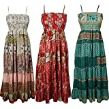 Gypsy Fairy Love Womens Sundress Recycled Vintage Sari Patchwork Maxi Dress Wholesale 3 Pcs