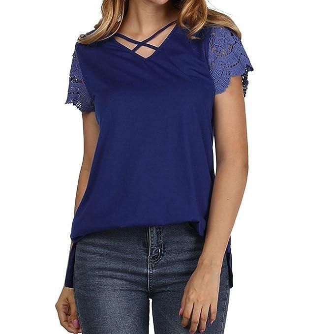 DOGZ Mujer Sexy Criss Cross Cordón Manga Corta Blusa Casual Suelto Camiseta Talla Grande Escote en