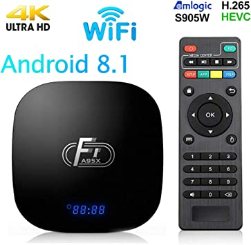 Android 8.1 TV Box,Smart Media Player 2+16GB ROM Amlogic S905W Media Box,Support 2.4GHz WiFi 3D/1080P/4K Android TV Box with Remote Control: Amazon.es: Electrónica