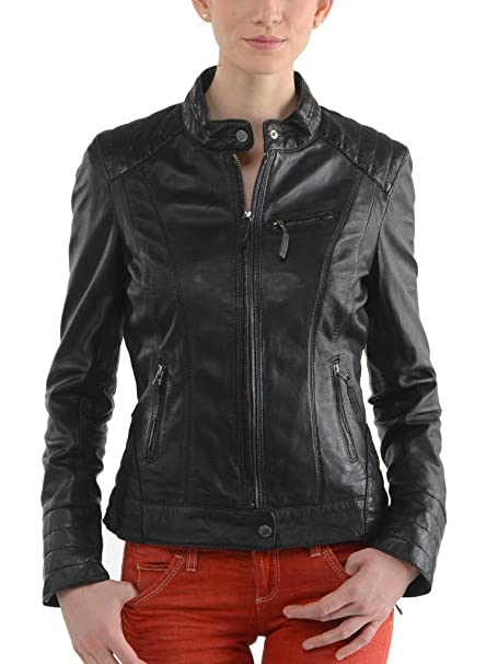Amazon.com: leather4u chamarra de piel auténtica para mujer ...
