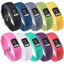 QGHXO Band for Garmin Vivofit 4, Soft Silicone Replacement Watch Band Strap for Garmin Vivofit 4 Activity Tracker, Small, Large, Ten Colors