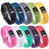 QGHXO Band for Garmin Vivofit 4, Soft Silicone Replacement Watch Band Strap for Garmin Vivofit 4 Activity Tracker, Small, Large, Ten Colors (10PCS Bands, Large)