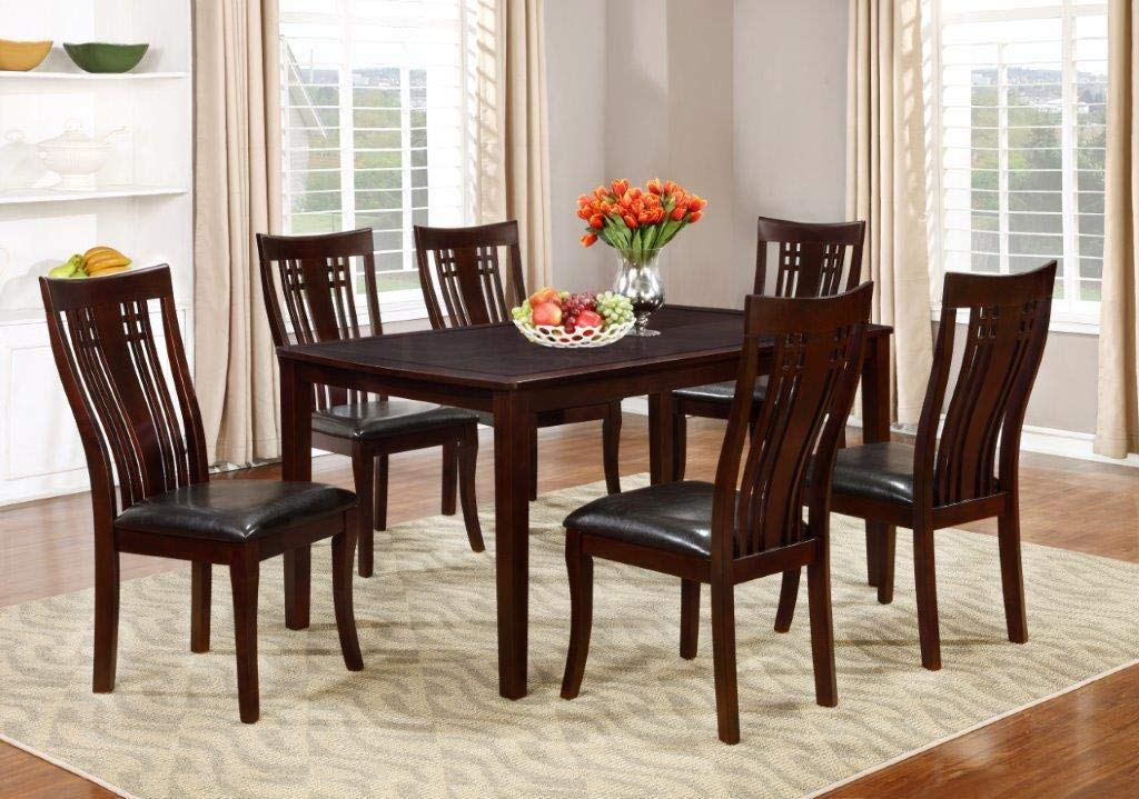 Pleasing Gtu Furniture 7 Piece Cappuccino Dining Room Kitchen Table Set 1 Table With 6 Chairs Download Free Architecture Designs Intelgarnamadebymaigaardcom