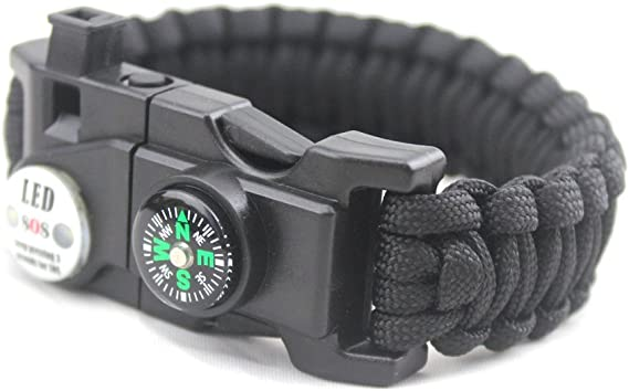 LED Way Paracord Bracelet Wild Survival Equipment Camping Outdoor SOS  Whistle