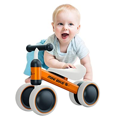 YGJT Baby Balance Bikes Bicycle Baby Walker Toys Rides for 1 Year Boys Girls 10 Months-24 Months Baby's First Bike First Birthday Gift Orange: Toys & Games