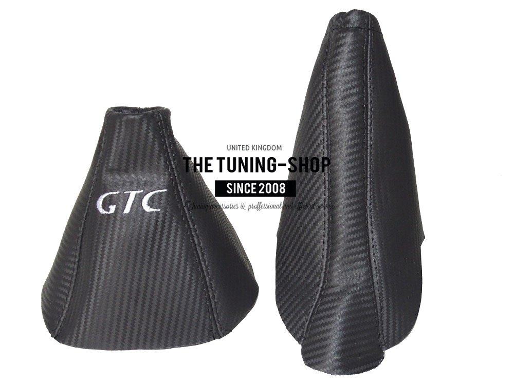 Gear y freno de mano de Carbono Piel GTC blanco bordado