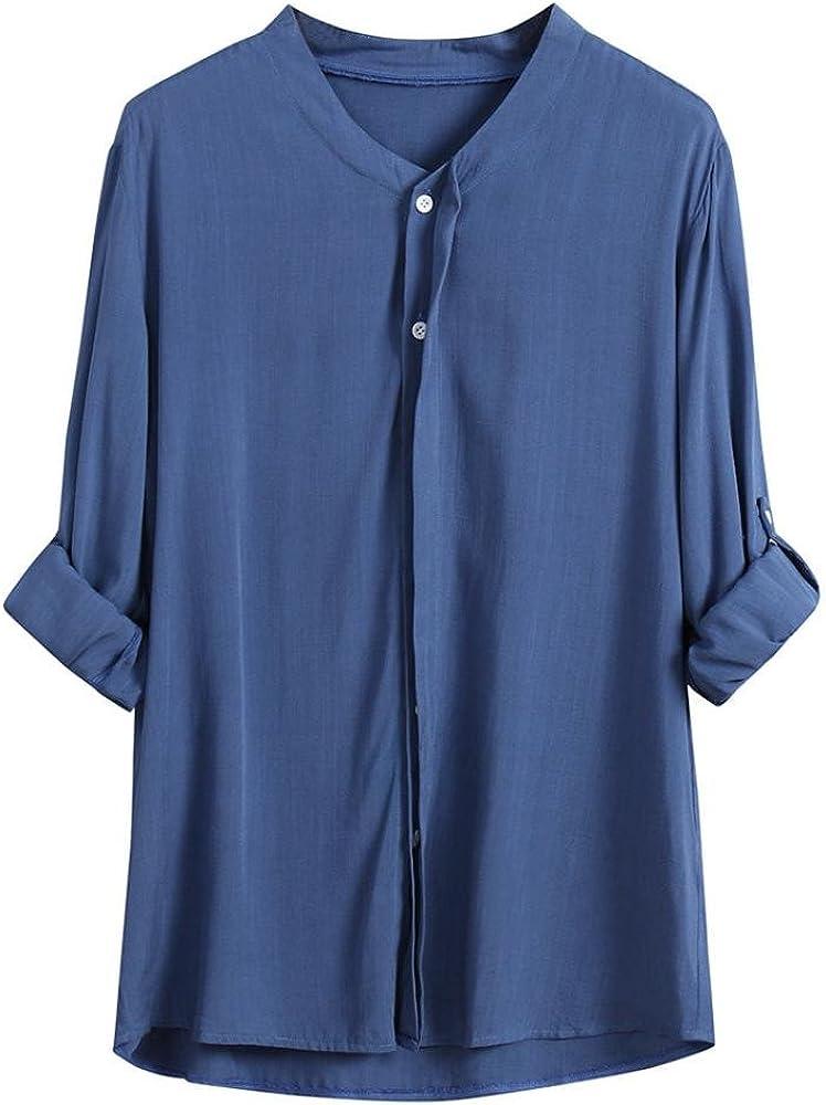 Yvelands Moda Mujer Elegante Suelta botón de Ajuste de Manga Larga Cuello Rebeca Camisas Blusa Camiseta Blusa Boda Fiesta, Liquidación (Azul, S): Amazon.es: Ropa y accesorios