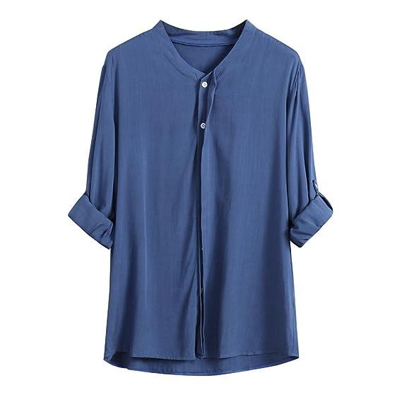 Yvelands Moda Mujer Elegante Suelta botón de Ajuste de Manga Larga Cuello Rebeca Camisas Blusa Camiseta