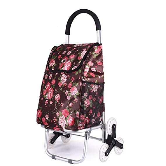 Amazon.com: Folding portable grocery trolley upstairs aluminum car shopping cart Elderly people to buy food trolley , A: Sports & Outdoors