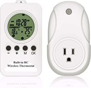Hycency Thermostat Plug Temperature Controller with Timer Mode, Programmable Outlet Thermostat Set Differential Value to Keep Temperature in Desired Range