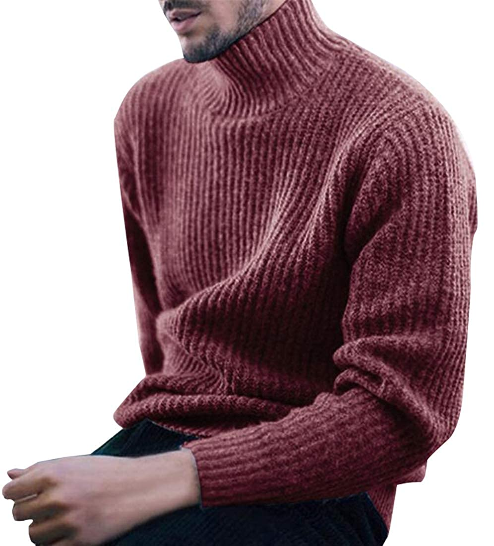 Beloved Men Basic Casual Slim Fit Knitted Turtleneck Pullover Thermal Sweaters