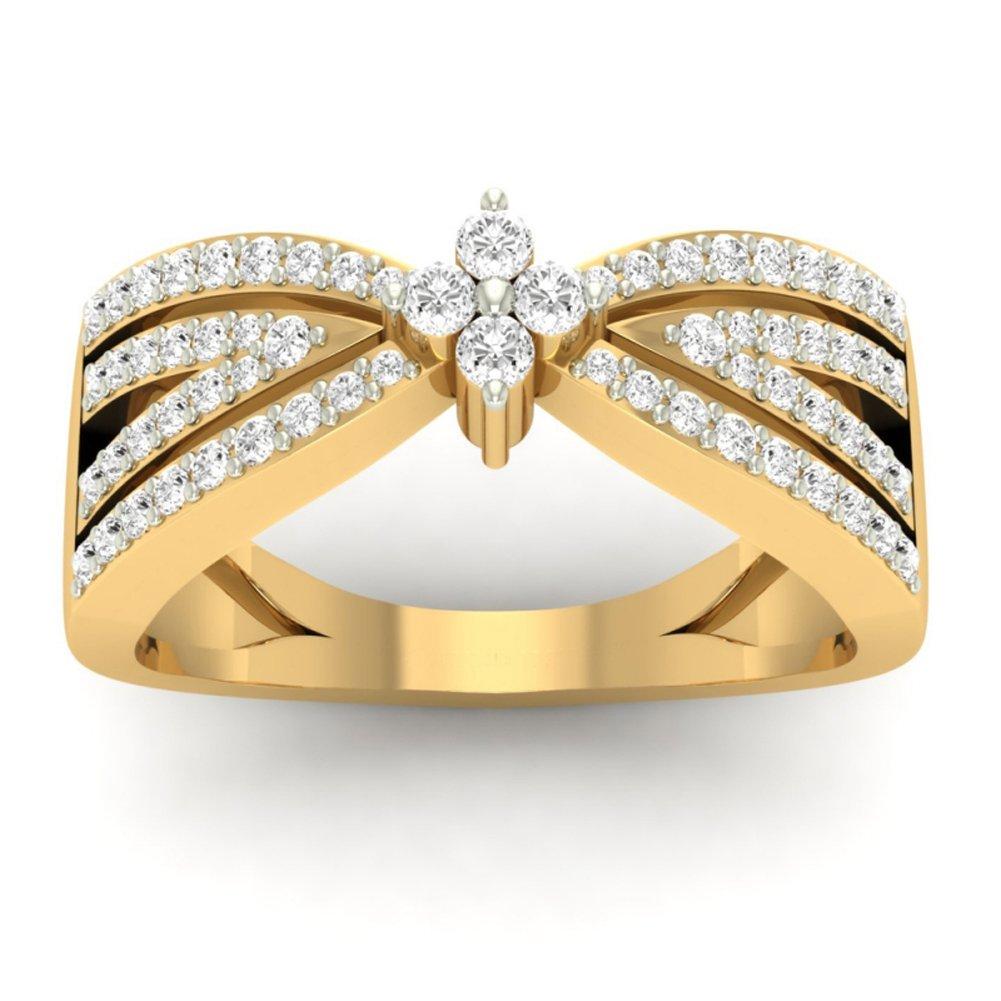 14K Yellow Gold (HallMarked) 0.42cttw Round-Cut-Diamond (IJ | SI) Diamond Engagement Wedding Ring Size - 8