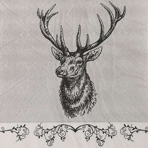 OYL Reindeer Paper Napkins , Luncheon Paper Decorative Serviettes ,60 Count 2-Ply , 13 x 13 Inch (Reindeer Paper)