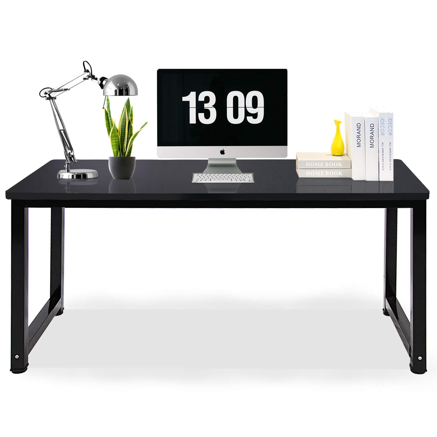 Jerry & Maggie - Professional Office Desk Wood & Steel Table Modern Plain Lap Desk with Rectangular Legs Computer Desk Personal Working Space - Black | Length 55.2''