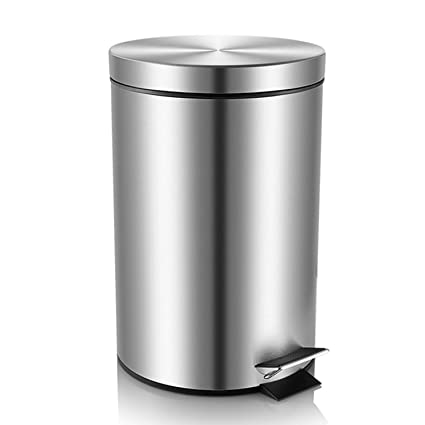 Stainless Steel Brushed Finish Malmo Round Step Trash Can, 3L/0.8Gallon