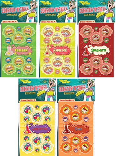 Dr. Stinky's Scratch N Sniff Stickers 5-Pack- 5-pack Chili, Apple Pie, Bologna, Spaghetti, Jelly Beans 135 stickers (Series 4)