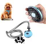 DELE Pet Shower Sprayer, Pet Bathing Tool for Dog Combines Handheld Bathe Shampoo Massage with 47 Inch Stainless Steel Hose and 4 Hose Adapters Indoor and Outdoor Use
