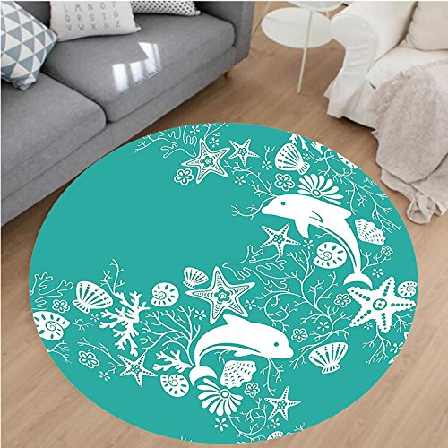 Nalahome Modern Flannel Microfiber Non-Slip Machine Washable Round Area Rug-s and Flowers Sea Floral Pattern Starfish Coral Seashell Wallpaper Pattern Art Teal White area rugs Home Decor-Round (Oval Ivory Shell)