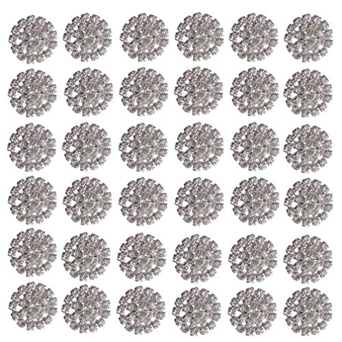 Arlai Pack of 36Pcs Silver Rhinestone Jewelry Crystal Flower Button Accessory, DIY Wedding Decoration, Hair Accessories (Wedding Button)