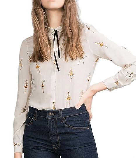 d572190ea24b35 Jmwss QD Women s Chiffon Long Sleeve Blouse Shirt Business Casual Tops  White XXS
