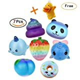 Hotsellhome Pack of 7 Cute Jumbo Soft Squishies Super Slow Rising Squishy Foods Doughnut/Galaxy Panda/Poo/Rainbow Strawberry/Whale/Galaxy Honey Peach Squeeze Stress Relief Toy for Boys Girls Adult Gift