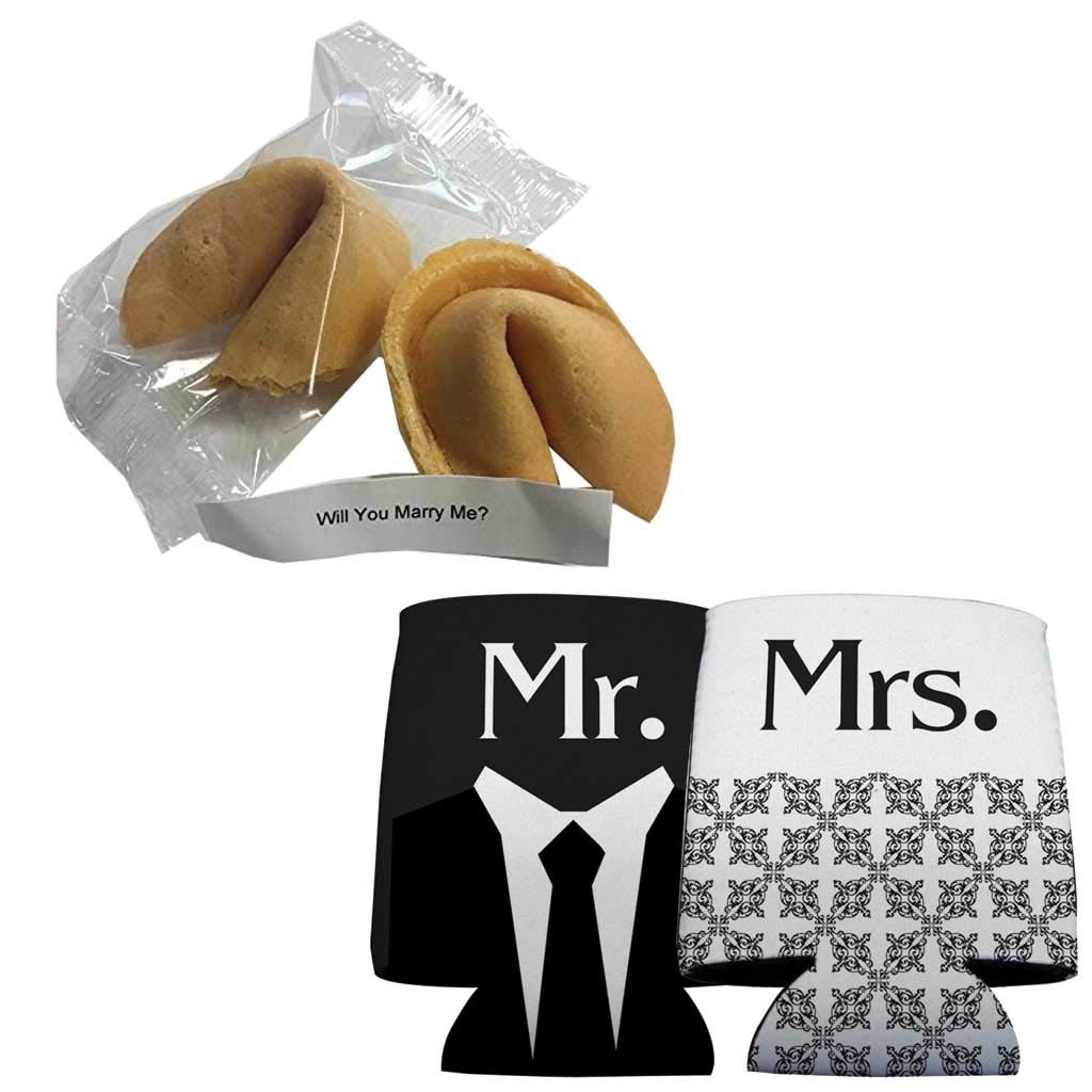 VictoryStore Wedding Proposal: Will You Marry Me? Fortune Cookie With Message Inside (2 Cookies + Mr and Mrs Black and White Can Cooler) by VictoryStore