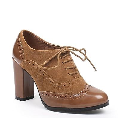 22524c5b4845 Ideal Shoes - Richelieu bi-matière à Talons Divia Camel 41  Amazon ...