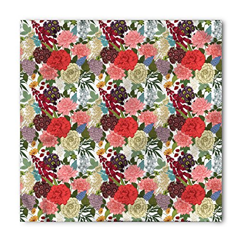 - Ambesonne Unisex Bandana, Floral Romantic Bouquet Design, Ruby Cream