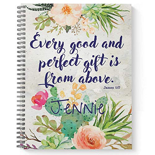 Perfect Gift Personalized Religious Notebook/Journal, Laminated Soft Cover, 120 College Ruled pages, lay flat wire-o spiral. Size: 8.5