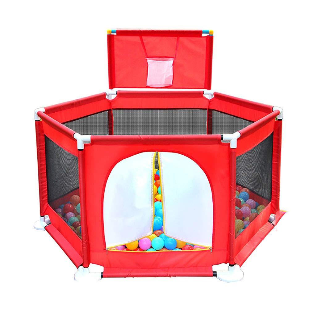 赤ちゃんの囲い 赤いオックスフォード布赤ちゃんのフェンスは、子供の屋内遊び場のおもちゃの家を増やす   B07JCYT898