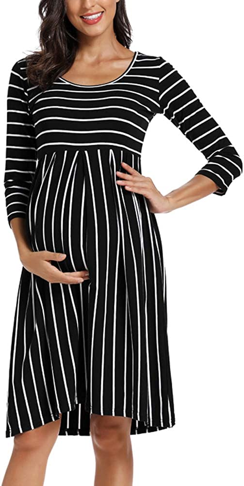 Bbhoping Women S Casual Striped Maternity Dress Short 3 4 Sleeve Knee Length Pregnancy Clothes For Baby Shower At Amazon Women S Clothing Store